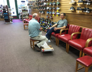 We are a sit and fit shoe store
